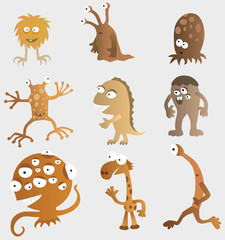 Funny Creatures from another Planets (retro colors)
