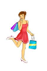 Frau im Petticoat Kleid und mit Einkaufstüten