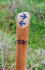 Señal de ruta en bicicleta, mountain bike