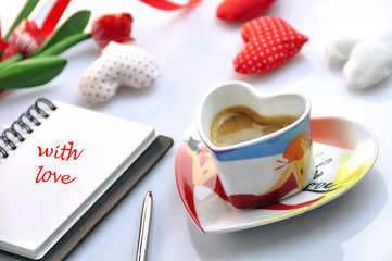valentine - cup of coffee with diary
