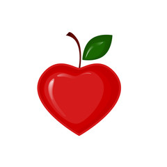 Vector red apple in the shape of heart