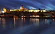Prague castle with river Vltava at twilight - long exposure