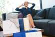 Cheerful woman talking phone shopping bags shopaholic