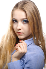Young woman wearing a blue shirt