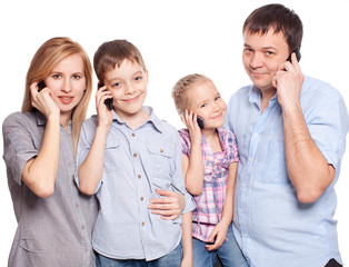 Family, speaking on the phone