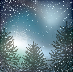 Night Christmas background with whirling snow and fir-tree