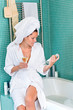 Young woman relaxing bathroom spa treatment bathtub