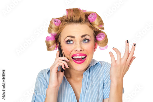 Smile business woman on phone, isolated on white