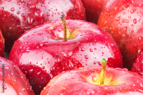 Macro of fresh wet red apples