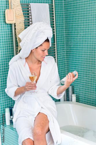 Young woman relaxing bathroom spa treatment bathtub