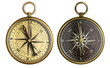 Old compass collection. Two aged brass antique nautical pocket c