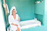 Happy woman relaxing bathroom spa wellbeing hotel poster