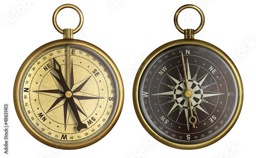 Leinwandbild Motiv Old compass collection. Two aged brass antique nautical pocket c