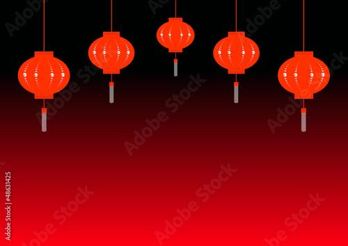 Frise lampions éteints - Nouvel an Chinois