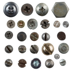 screws, nails, bolts heads isolated on white collection