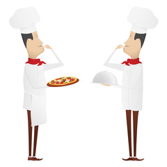 Two gourmet chefs - first with silver platter, second with pizza