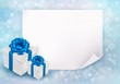 Holiday background with sheet of paper and gift boxes with blue