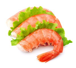 Shrimps with green salad
