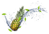 Pineapple in water splash, isolated on white background
