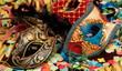 Maschere di carnevale e coriandoli - 48633810