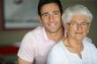 Grandson visiting grandmother