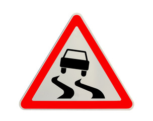 """Traffic sign """"slippery road"""" isolated"""