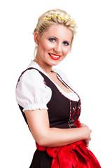 junge blonde Frau im Dirndl