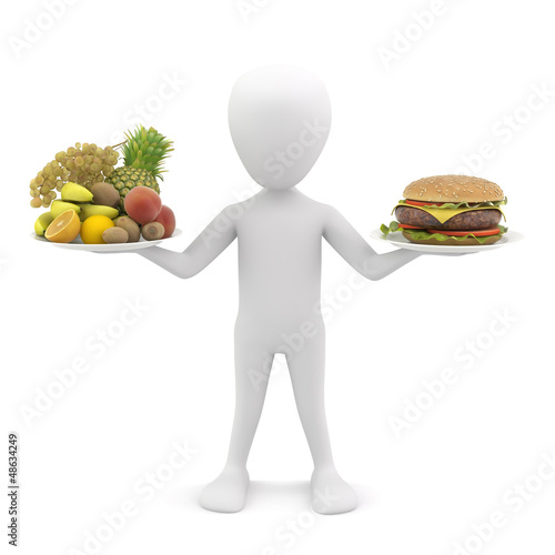 3d man holding fruit and hamburger. 3d image.