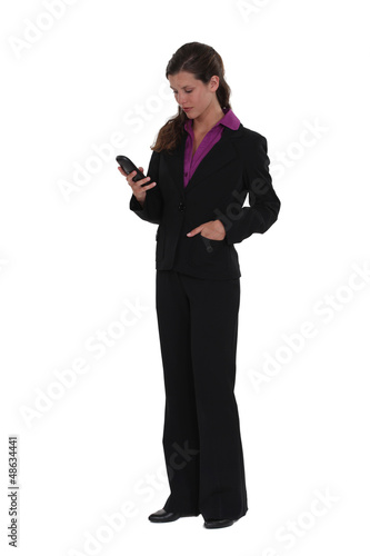 Woman isolated on white background with phone