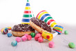 chocolate donuts with carnival decoration