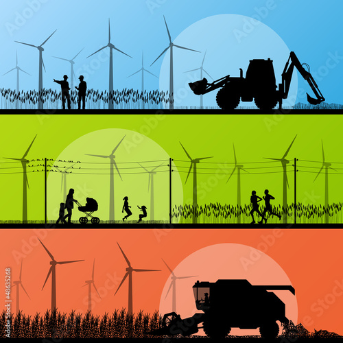 Wind electricity generators and windmills in countryside
