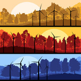 Wind electricity generators and windmills in mountain vector
