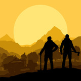Loggers with axes in wild mountain forest nature landscape