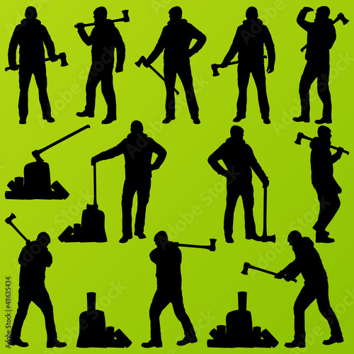Woodcutter, logger set vector background with man and wood ax