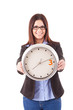 Businesswoman holding a clock