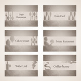 set of 6 business cards. For cafe and restaurant_IV
