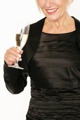 attraktive Frau mit Sektglas