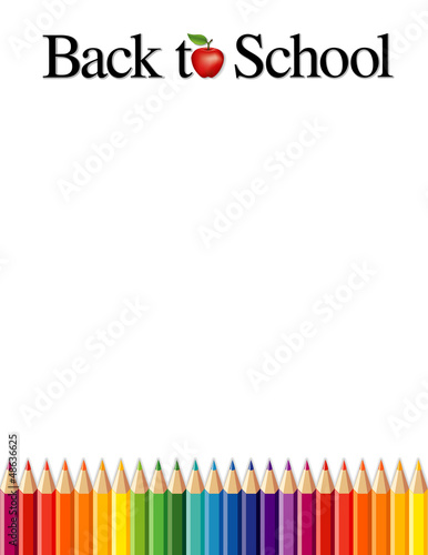 Back to School, colored pencils, apple, copy space, daycare