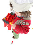 Child pretending to be a tradesperson poster