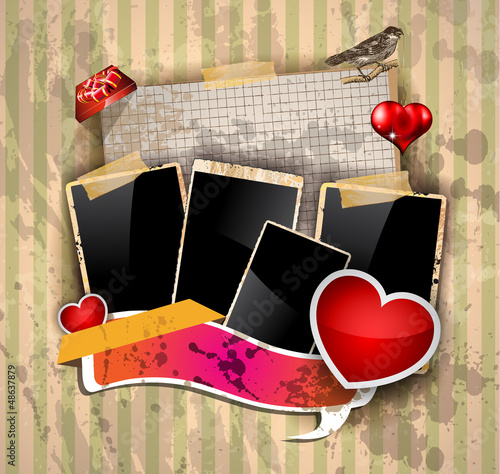 Valentine's Day scrapbook vintage background