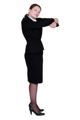 Businesswoman hugging an invisible object