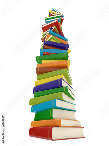 Multi colored book stack