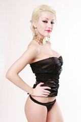 Sensual blonde girl with underwear black