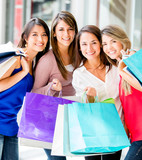 Group of shopping women