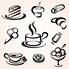 caffe, bakery and other sweet pastry icons set