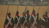 Troop of Russian soldiers in the uniform of 1812. Slow motion.