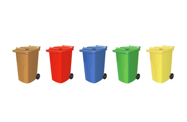 Recycling trash cans isolated