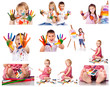 Collection of photos of kids painting with colors