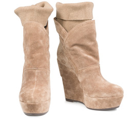 Ladies suede boots with integral legging