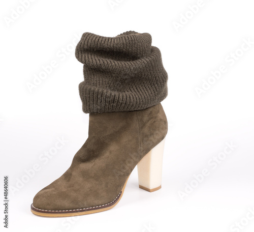 Womans brown suede boot with integral legging